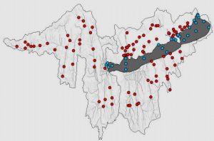 Halállomány felmérések helyei a Balaton vízgyűjtőjén