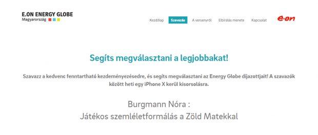 E.ON Energy Globe Magyarország díj – segítesz elnyerni?